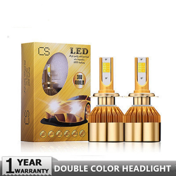 CS Car Farol H4 LEVOU H7 Lâmpada LED 3000 K 6000 K H1 H3 H11 9005 HB3 HB4 H27 LEVOU Dupla Cor Amarelo Branco luz