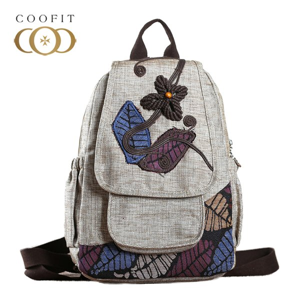 2018 National Style Leafs Embroidery Women Backpack Retro Leaves Flowers Beads Canvas Female Backpack School Bagpack For Girls