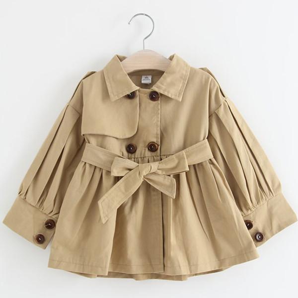 Bébé Filles Trench-Coat De Mode Filles Automne Veste Vintage Enfants Manteaux Bowtie Sashes Trench Bowknot À Manches Longues Survêtement