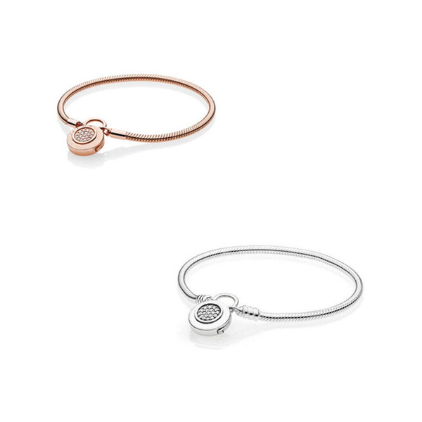 2018 Spring 925 Sterling Silver Original Moments Smooth Signature Padlock Bracelet Fit Bangle Charm DIY Jewelry