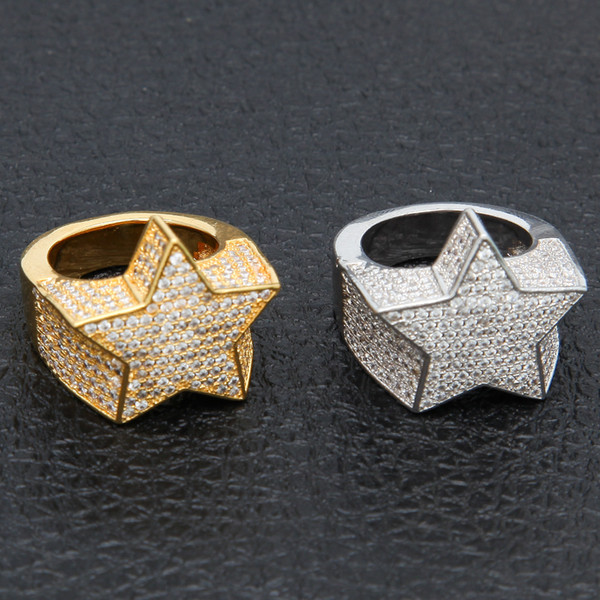 top popular Men's Fashion Copper Gold Color Plated Ring Exaggerate High Quality Iced Out Cz Stone Star Shape Ring Jewelry 2019