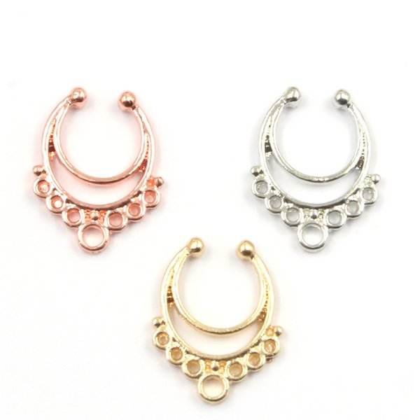 30pcs alloy mixed color Fake Nose Ring Hoop Ring Nose Body Jewelry fake piercing septum ring N0063
