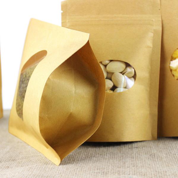 100PCS/lot kraft paper stand up tea coffee self ziplock package bag food storage package for dry fruit nut grain