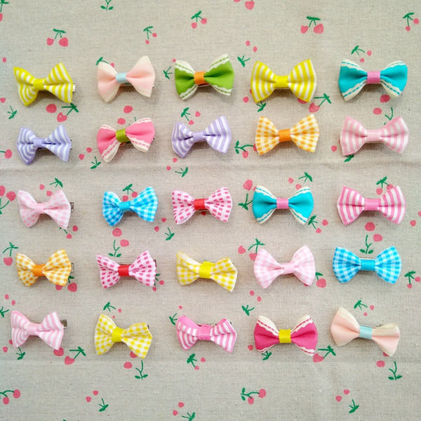 100pcs New Puppy Dog Hair Clips Small Bowknot with Alligator Clips Pet Grooming Products Mix Colors Varies Patterns Pet Hair Bows Accessory