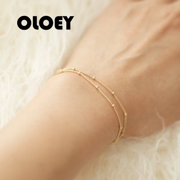 OLOEY Summer Simple Bracelet Charm Double Layer Chain Bracelets & Bangles Elegant Wedding Engagement Daily Wear Cheap Jewerly