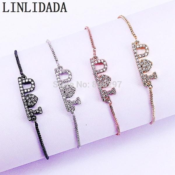 New Fashion 10 Pcs Multicolore Micro Pave CZ Love Bracelet Bijoux Chaîne Réglable Bracelets pour Femmes