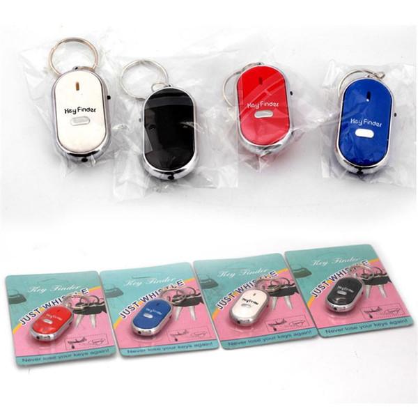 LED Key Finder Locator Finden verlorene Schlüssel Keychain Whistle Sound Control Key Halter Ringe Frauen Männer Schmuck