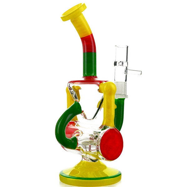 8 Inch Tall Heady Glass Bongs Recycler Rigs Hammerhead Perc Rainbow Oil Rig Handwork Water Pipes With Bowl Colorful Dab Rigs WP492