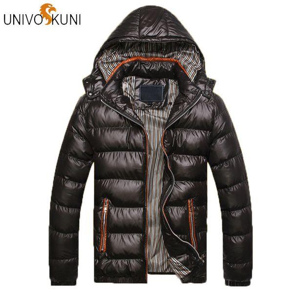 UNIVOS KUNI Solid Hooded Mannen Winter Jassen Ongedwongen Parka Mannen Jassen Dikke Thermische Glimmende JassenMerk Parkas J400