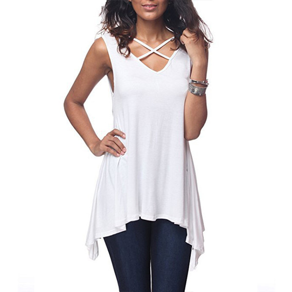 Sexy Criss Cross V Neck T Shirt 2018 Ladies Summer Sleeveless Tee Tops Loose Irregular Hem Long Tops Casual Solid Women T-Shirts