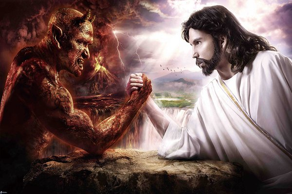 Jesus Christ VS Satan Art Canvas Poster Modern HD Print Oil Painting Wall Art Painting Picture Poster For Room Decor