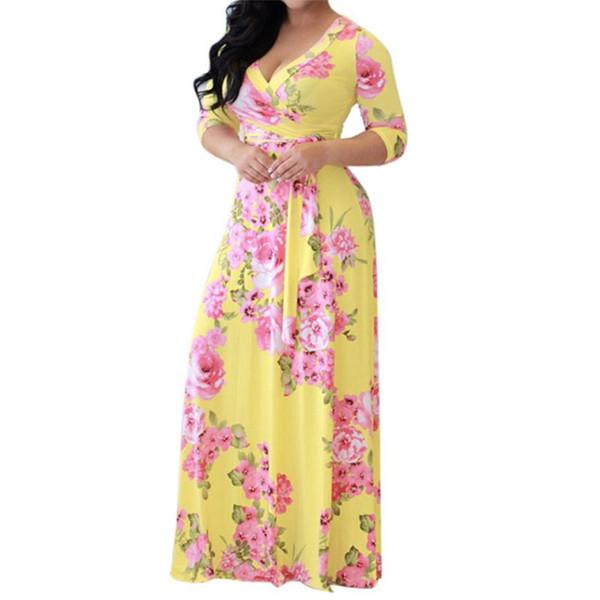 good quality Women Floral Boho Long Maxi Dress Evening Party Beach Dresses Sundress Spring Autumn V-Neck Casual Fashion Dress Women