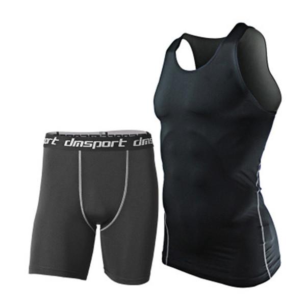 Tute da uomo di marca 2pcs Sportswear Quick Dry Fitness Gym Pantaloncini Shorts Compressione Jogger Wear Uomo Abbigliamento da corsa Nero Plus Size XXXL