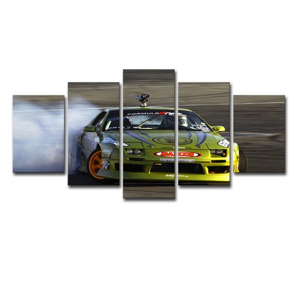 Wall Art Poster Modern HD Printed For Living Room Canvas Painting 5 Pieces Green Auto Race Sports Car Pictures Home Decor