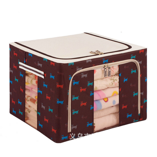 High-capacity Clothes Storage Box Anti Mildew Moisture-proof Quilt Bag Organisateur Oxford 600D Steel Frame Finishing Box Boite Suitcase Bag