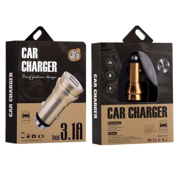 3.1A dual USB car charger Round Aluminum Alloy Metal Safety Hammer Charger Adapter For iphone ipad samsung gps digital camera with box