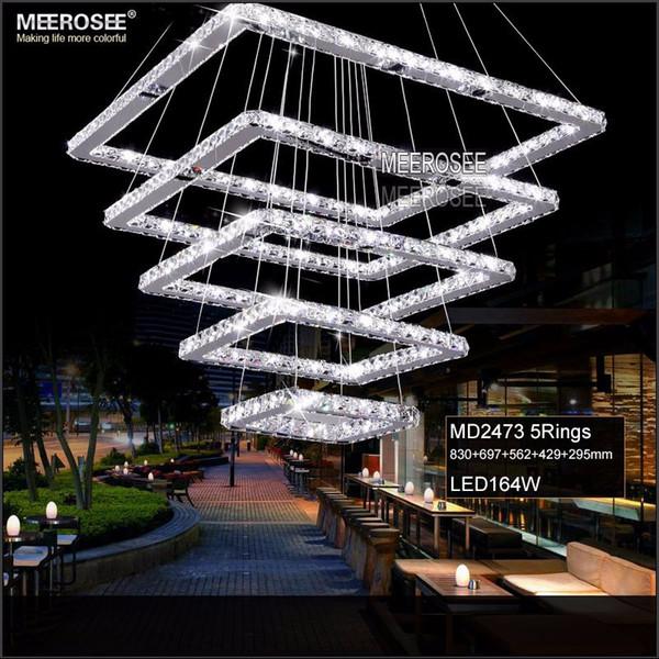 Kare Kristal LED Kolye Işıklar Fikstürü Dikdörtgen Kristal Asılı Lamba Modern Kristal Merdiven Otel Koridor Villa için Oturma Odası Aydınlatma