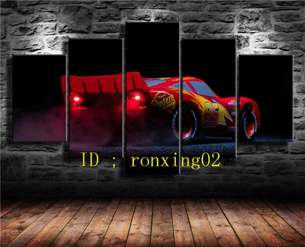 Red 95 Sports Car 5 Pieces Home Decor HD Printed Modern Art Painting on Canvas (Unframed/Framed)