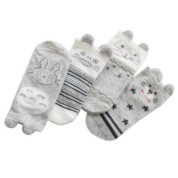 4pairs / lot Chaussettes bébé d'été mignon unisexe Garçons Filles Cartoon animaux Coton respirant gris clair mince Socquettes Invisible Set