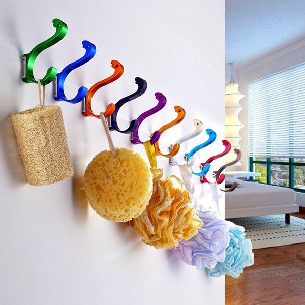 best selling Free Shipping Aluminium Wall Hook Metal Towel Robe Hook For Bedroom Kitchen Bathroom 10Pcs