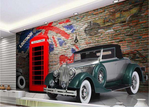 3d wallpaper custom photo mural European retro telephone booth vintage car brick wall Home decor living Room wallpaper for walls 3 d
