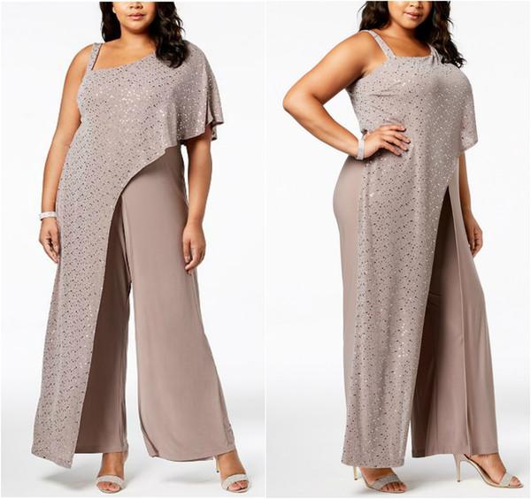 2019 RM Richards Kleider für die Brautmutter One Shoulder Sequins drapieren Overalls Chiffon-Hosen Plus Size Hochzeitsgäste Anzüge für Mütter
