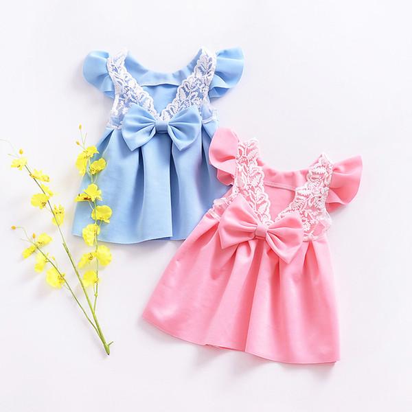 Compre Niñas Faldas De Encaje Sin Mangas Niña De Verano Princesa Retroceder Vestido Arco Niños Niños Boutiques Ropa De Color Rosa Y Azul Claro A 503