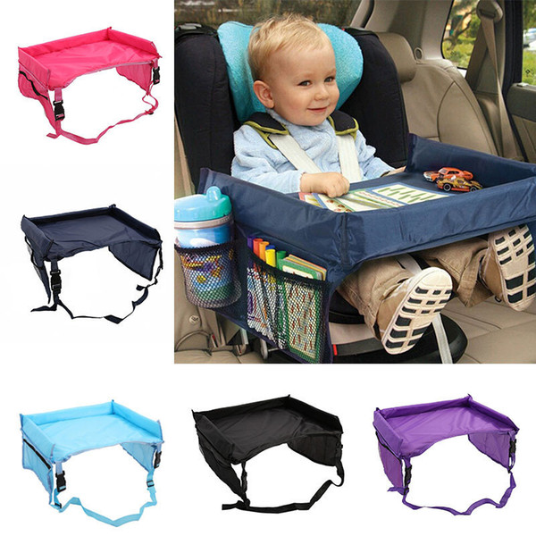 top popular 5 Color Baby Toddlers Car Safety Belt Travel Play Tray waterproof folding table Baby Car Seat Cover Harness By Pushchair Snack LC783 2021