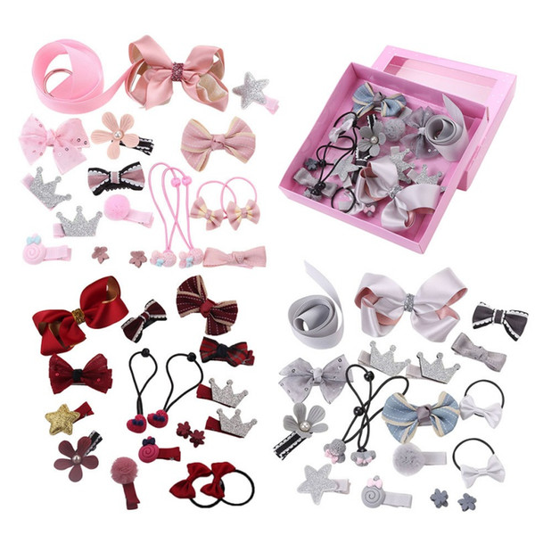 18Pcs/set Kid Baby Girl Infant Baby Hair Claw Bowknot Flower Bling Cotton Hair Accessories New Cute Princess Headwear Wholesale