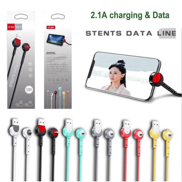 Новый 2.1A Micro USB тип c Android Подставка для кабеля Кабель для передачи данных Зарядный шнур 1M Быстрая зарядка телефона Кабель для передачи данных Кронштейн Стенд Держатель для мобильного телефона