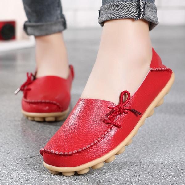 Primavera verano, cómodo y de gran tamaño para mujer, cuero real, zapatos de madre, enfermeras perezosas, que usan zapatos planos, casual y cómodo