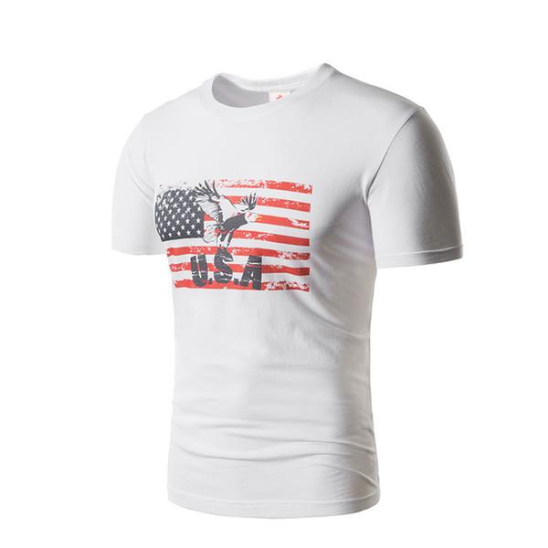 Men Summer White Tees USA National Flag Stripes Tshirts O-neck Clothing Tops
