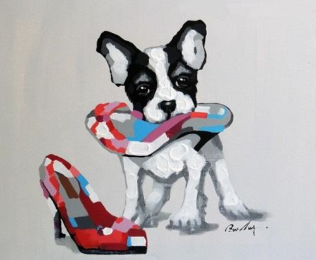 A.2 HD70x90 Boston Terrier Puppy Dog And Shoe,HandPainted &HD Print Modern Cartoon Animal Pop Art oil Painting On Canvas Museum Quality