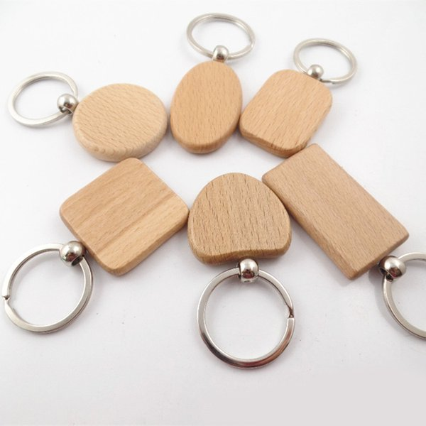 Best Business Gift DIY Blank Wooden Key Chain Rectangle Heart Round Ellipse Carving Keyring Wood Key Chain Ring Holder D274LR