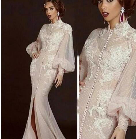Arabic Moroccan Mermaid Evening Dresses Party Elegant for Women Celebrity Long Sleeves Dubai Caftans High Neck Split Formal