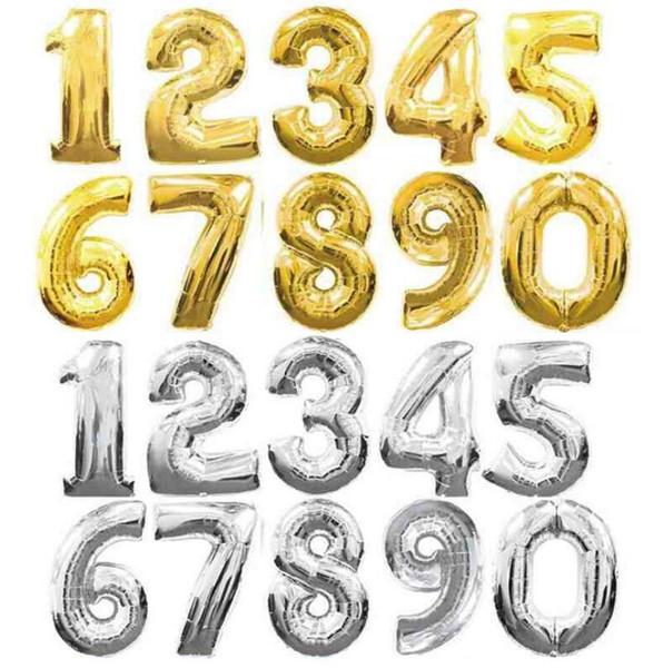 32 Pouces En Aluminium Feuille Ballons Arabe Nombre 0-9 Ballon De Mariage Anniversaire Fête Décorations Fournitures 2 Styles LX4061