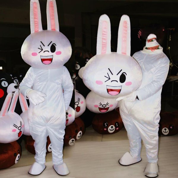 Vestido blanco adulto del traje de conejo de la mascota del conejo lindo del vestido de lujo del envío libre