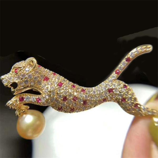 Broches de leopardo de lujo para las mujeres nueva moda animal broche de joyería de plata chapado en oro clip de la bufanda de la boda ramillete Pin al por mayor