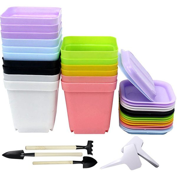16pcs 7 Colored Plastic Plant Pots with Saucer, Flower Pot, Set of 3 Planting Tools & 20 Plant Tags as Gift