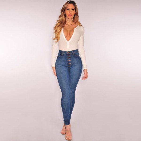 Women High Waisted Skinny Denim Jeans Stretch Slim Pants Calf Length Jeans women pantalon femme nice air permeability