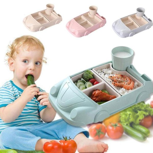 Baby Food Containers Bamboo Baby feeding Separation Plate Car shape Bowl Cup Plates Sets Children Tableware