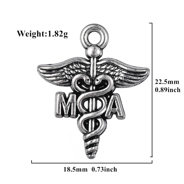 Profession Medical Assistant MA Antique Silver Plated Congratulation Charm Caduceus pendants jewelry making