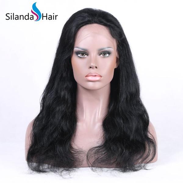 Silanda Cheveux Authentique Belle Couleur Naturelle # 1B Corps Vague Brésilienne Remy Cheveux Humains Dentelle Avant Full Lace Perruques Livraison Gratuite