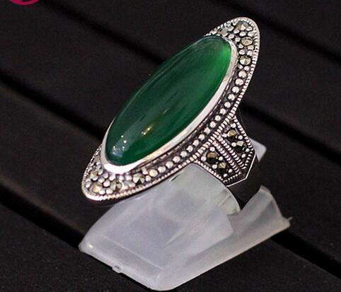 Top Quality Green Chalcedony Wedding Ring 100% 925 Sterling Silver Jewelry For Women Gifts Fine Vintage Gemstone Jade Ring SR34