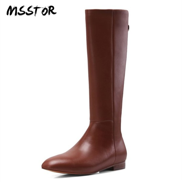 MSSTOR Casual Zipper Brown Shoes For Women Fashion Elegant Office Rubber Autumn Women Shoes Winter Round Toe Flats Boots 2cm
