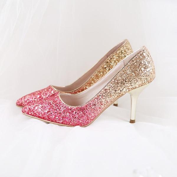 Gold Glitter Shoes and Black Elastic Cone Heel Pumps