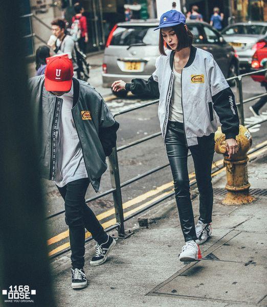 Fashion Men Jacket and Hip Hop Zipper Long Sleeve Blend Stand Collar Jacket Windbreaker Pocket Letter Print White Gray New Arrivals M-3XL