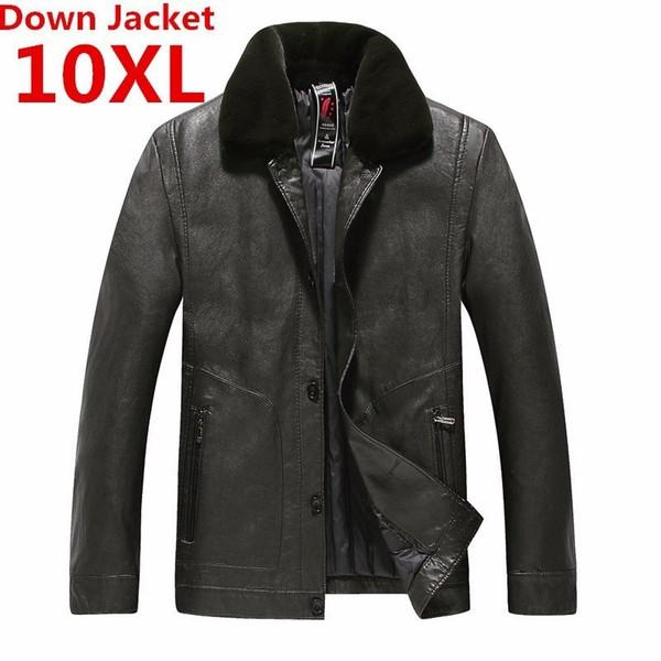10XL 9XL Winter neue Luxus Daunenjacke Herren Lederjacke Herren Daunen Winddichte warme Mantel Kaninchenfell Kragen einfarbig