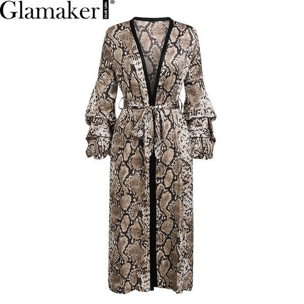 Glamaker Snake print loose christmas dress women Autumn high waist belt cardigan dress Elegant leopard v neck long vestido