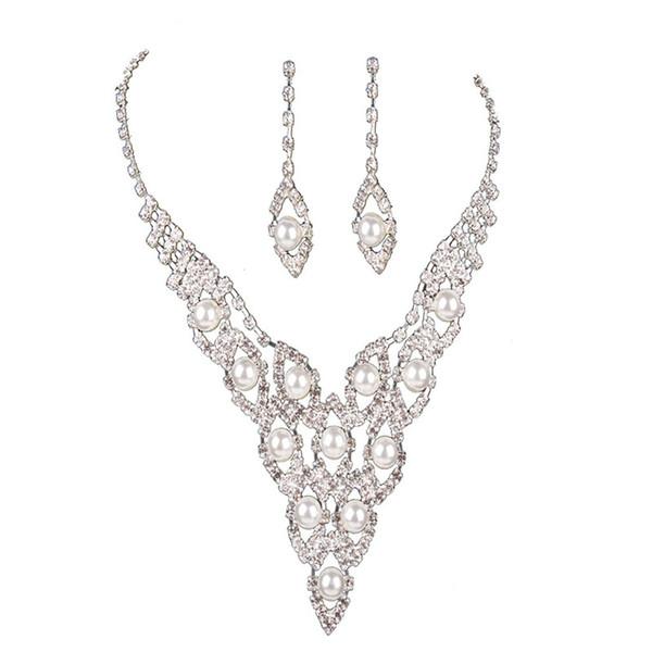 Collier femme + boucles d'oreilles en cuivre perle de cristal perles kit de bijoux de mariée de mariage pour dames @ M23